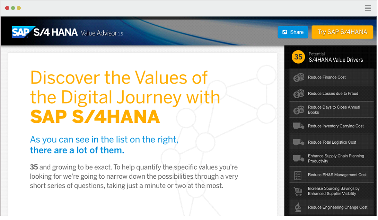 Image of SAP S/4 HANA webpage