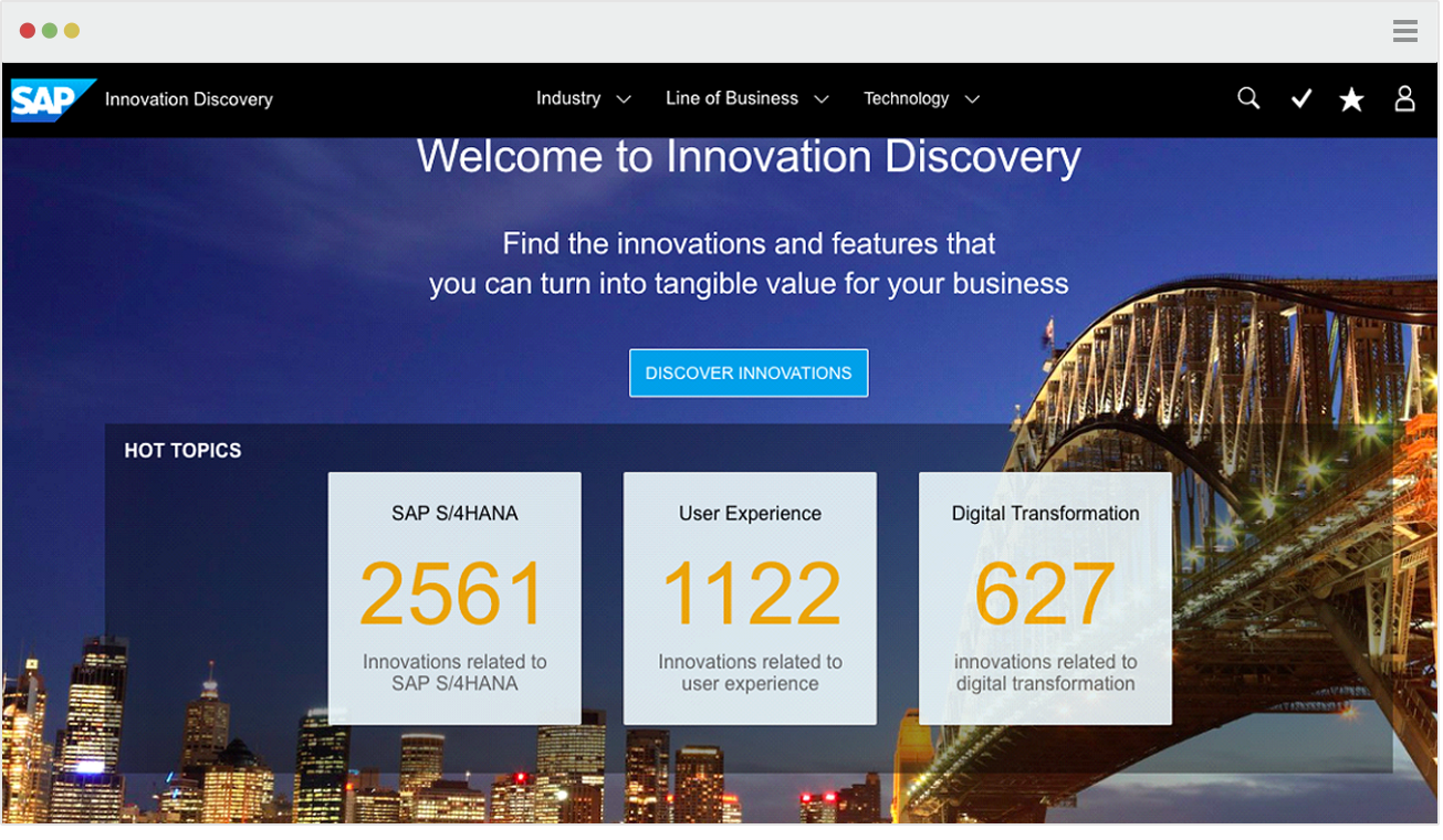 Image of SAP S/4 HANA Innovation Discovery webpage